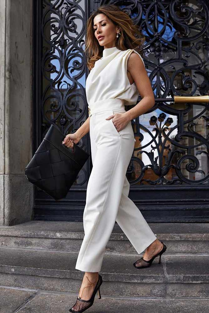 White Top With Straight Pants Outfit #whitepants