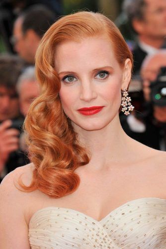 Jessica Chastain's Copper Hair With Golden Tone #jessicachastain