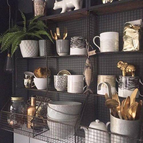 Metallic Baskets Floating Shelves #metallicbaskets