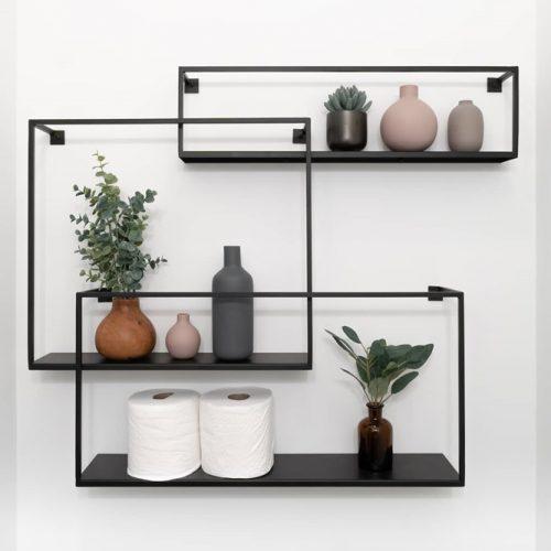Metallic Black Geometric Bathroom Shelves #bathroomshelves #metallicshelves