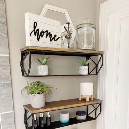 Wooden And Metallic Floating Shelves #metallicshelves #industrialshelves