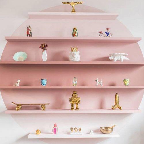 6-tier Pink Wooden Floating Shelves #pinkombre #pinkshelf