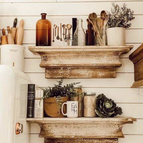 Vintage Wooden Carving Floating Shelves #rusticshelves #vintageshelves