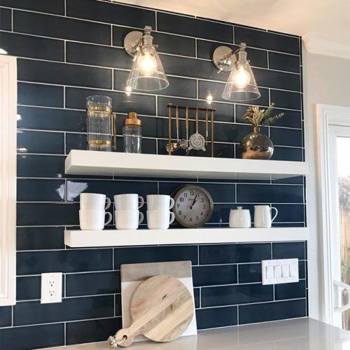 Wall Mounted White Floating Shelves #whiteshelves #kitchenspace