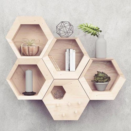 Hexagon Wooden Shelves Design #hexagonshelves
