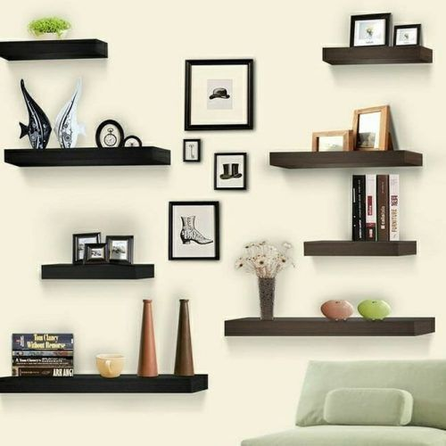 Wall-mounted Shelves For Living Room #woodshelves #livingroom