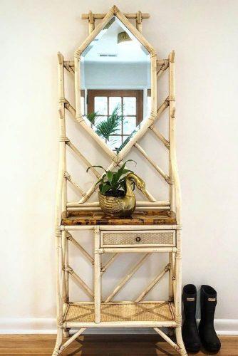 Bamboo Hall Tree With Mirror #halltreemirror #bamboohalltree