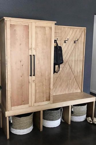 Wooden Design With Clothes Space Storage #woodenhalltree