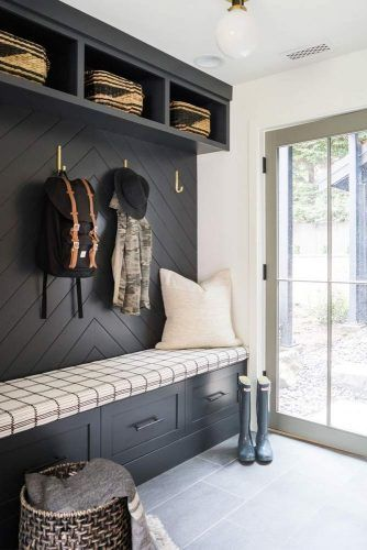 Black Hall Tree With Soft Bench And Storage Space #blackhalltree