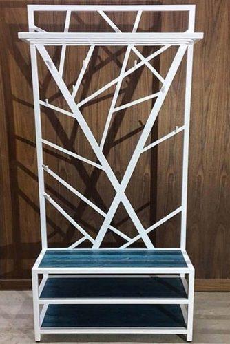 White Metallic Hall Tree Design With Shelves #whitehalltree