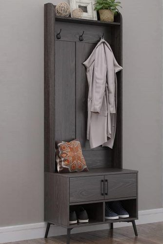 Modern Dark Gray Hall Tree With Enclosed Shelf #smallhalltree #shelves