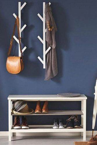 Hall Tree With Shoes Shelves Storage #shelves #modernhalltree