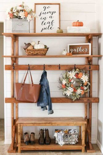 Wooden Design With Shelves Space Storage #woodenhalltree