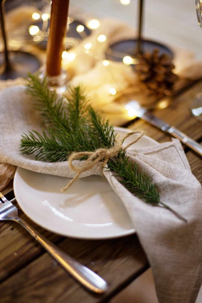 Napkin Ring with Christmas Tree Branch