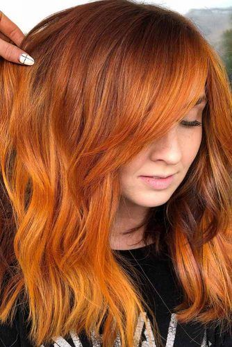 Copper Orange Hair Color #balayage #layeredhair