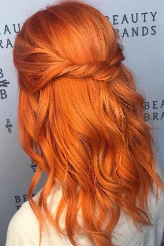 Bright And Shiny: How To Keep Your Orange Hair? #mediumhair #wavyhair #halfuphairstyle