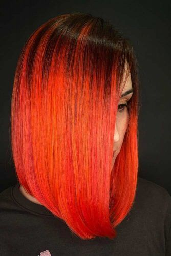 Bright Orange Melt #sleekhair #mediumhair #bobhairstyle