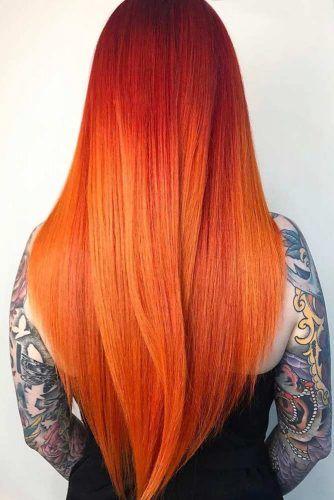 Tangerine Hair Shade #straighthair #longhar #hairombre #tangerinehair