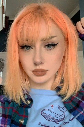 Pastel Orange Hair Shade #palehaircolors #shorthair
