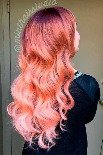 Pale Peach Hair Color #longhairstyle #wavyhairstyle peachhair