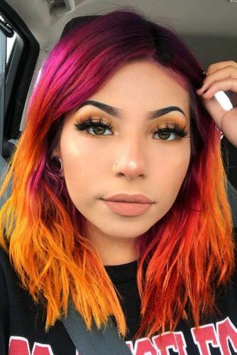 Bright Rainbow Hair #lobhairstyles #twotonedhair