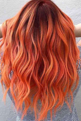 Orange Ombre Hairstyle #longhair #wavyhair #ombrehair