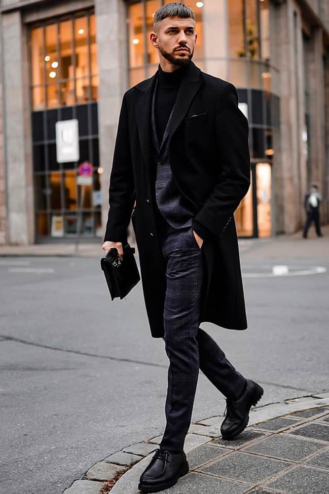 Power Suit With Black Coat Outfit #winteroutfit #blackcoat