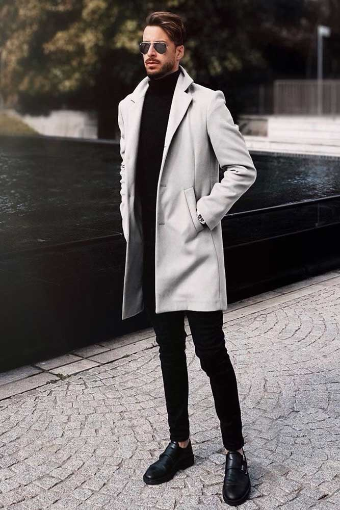 Black Pants With Light Gray Coat Outfit #lightgraycoat