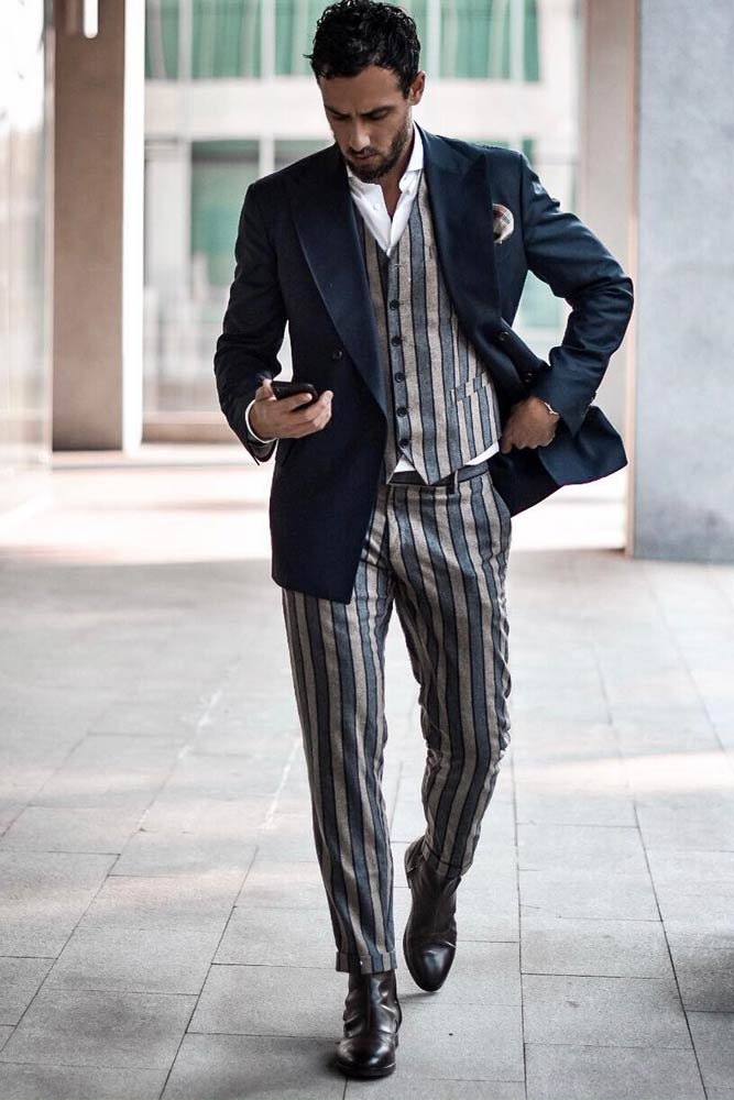 Striped Suit With Deep Blue Jacket #stripedprint #waistcoat