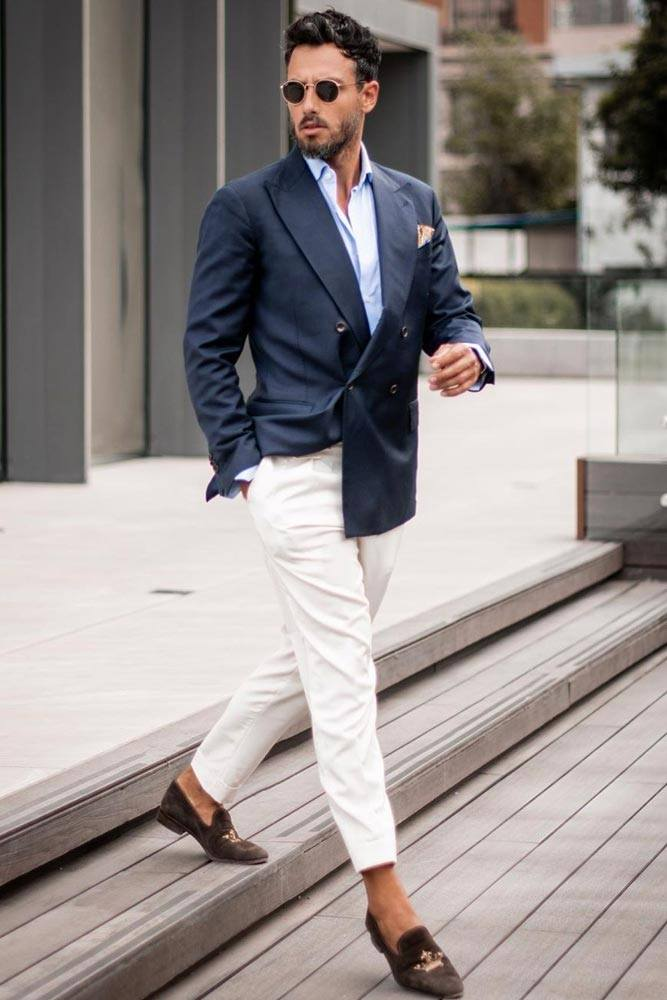 Deep Blue Jacket With White Pants Outfit #whitepants #bluejacket