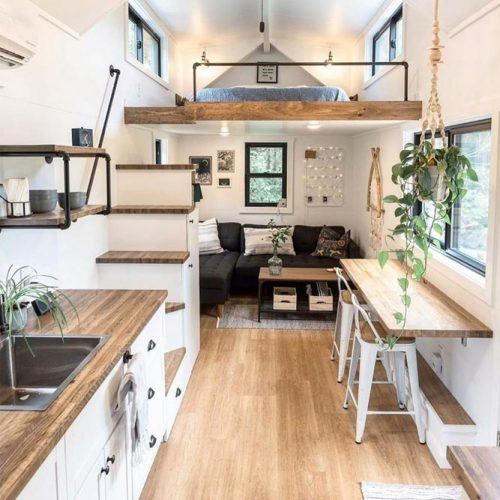 Small Apartment With High Celling In White And Natural Colors #whitewall #smallkitchen