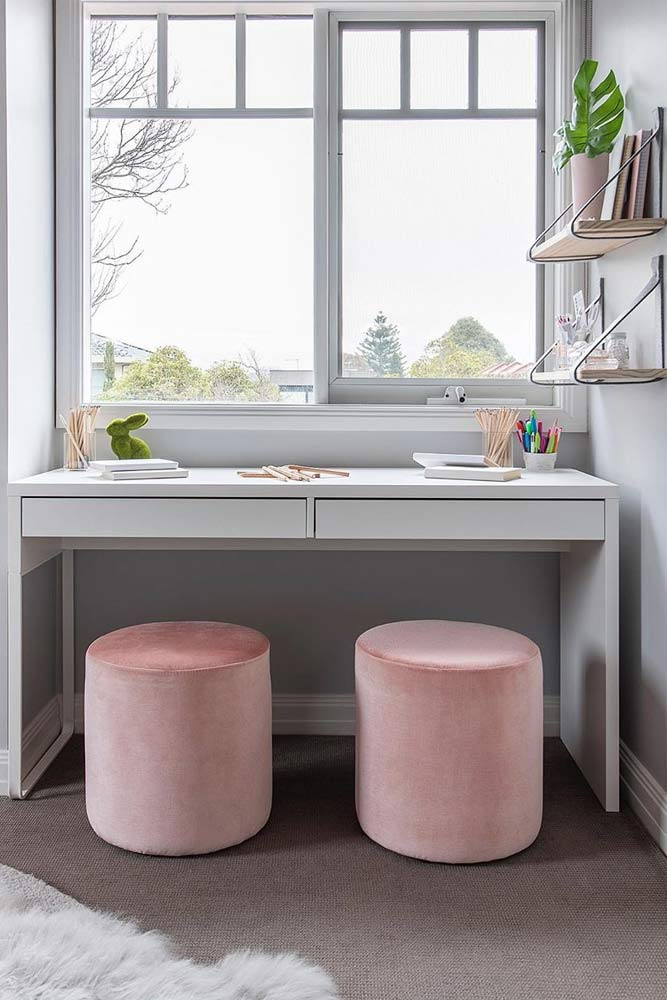 Dual Desk Nook With Pink Stools #dualdesk #pinkstools