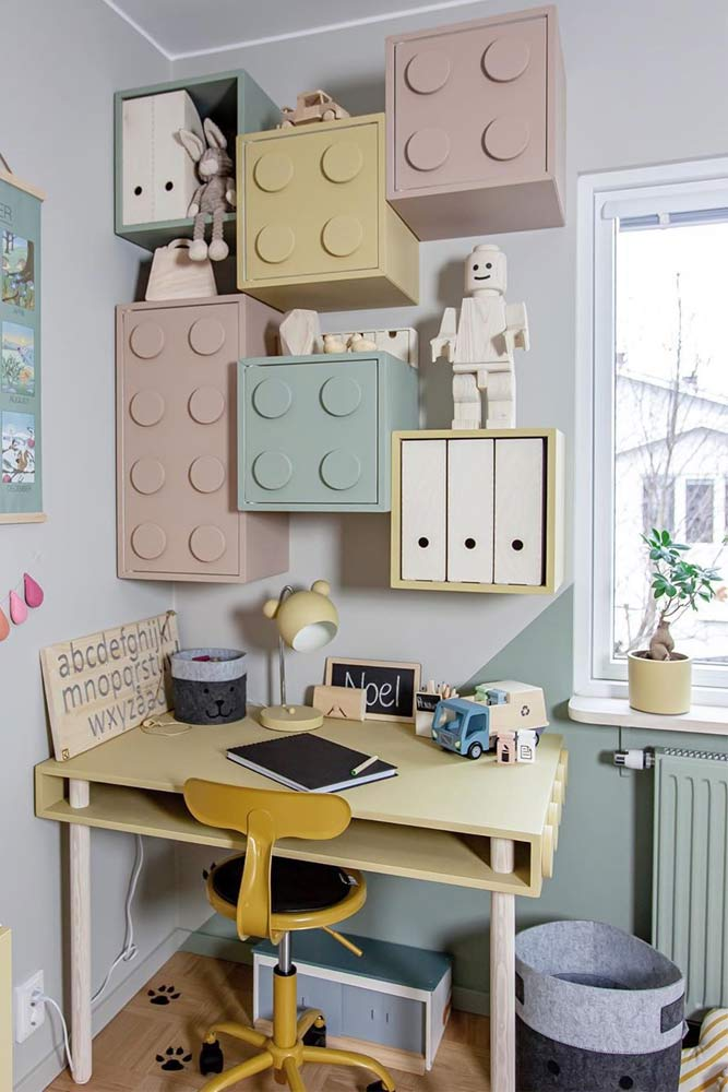 Lego Kids Desk Design With Retro Stool #legotable #cabinets