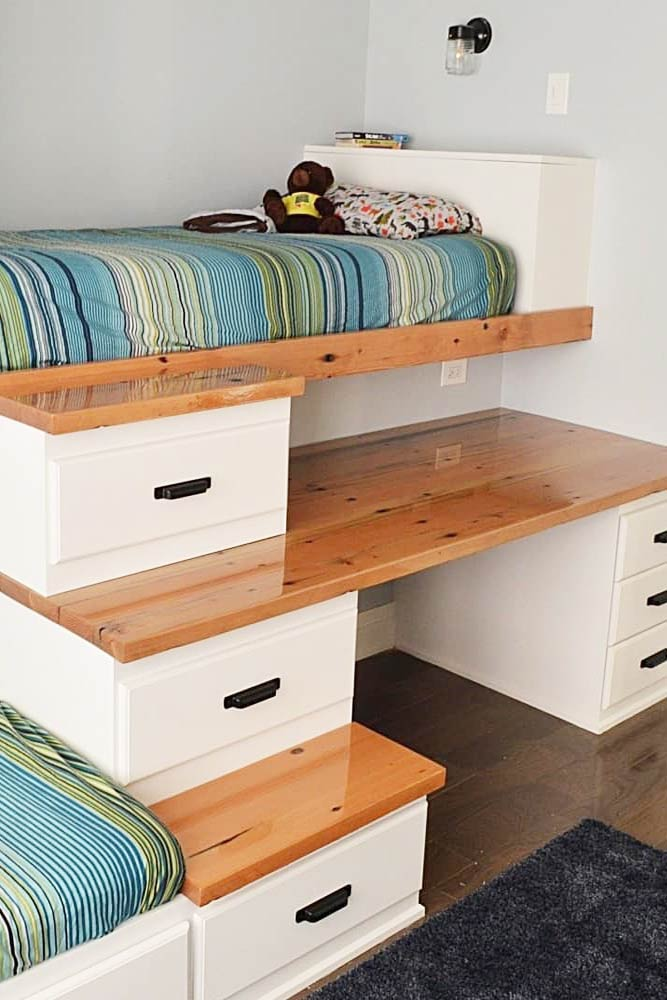 A Bed With Storage Steps And A Reclaimed Wood Desk Top #bed #nook
