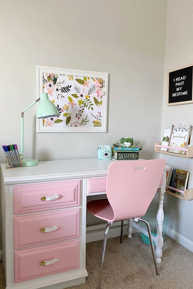 Classy Pink Kids Desk With Shelves Space Organization #classystyle #modernchair