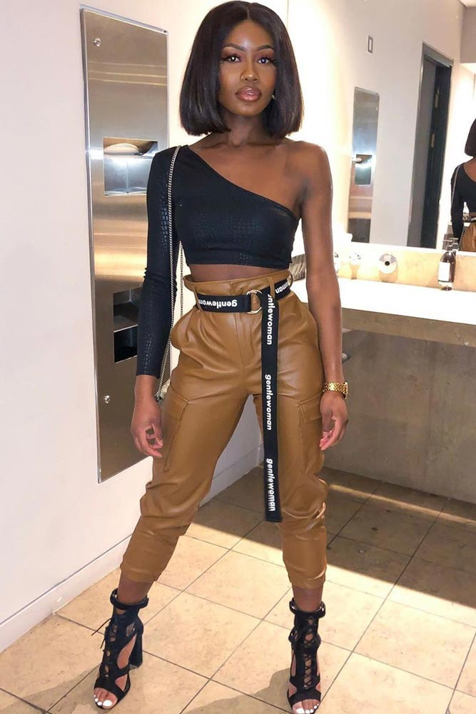 Asymmetric Top With High Waisted Pants #asymmetrictop