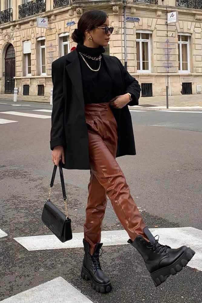 Brown Leather Pants With Black Blazer Outfit #blackblazer