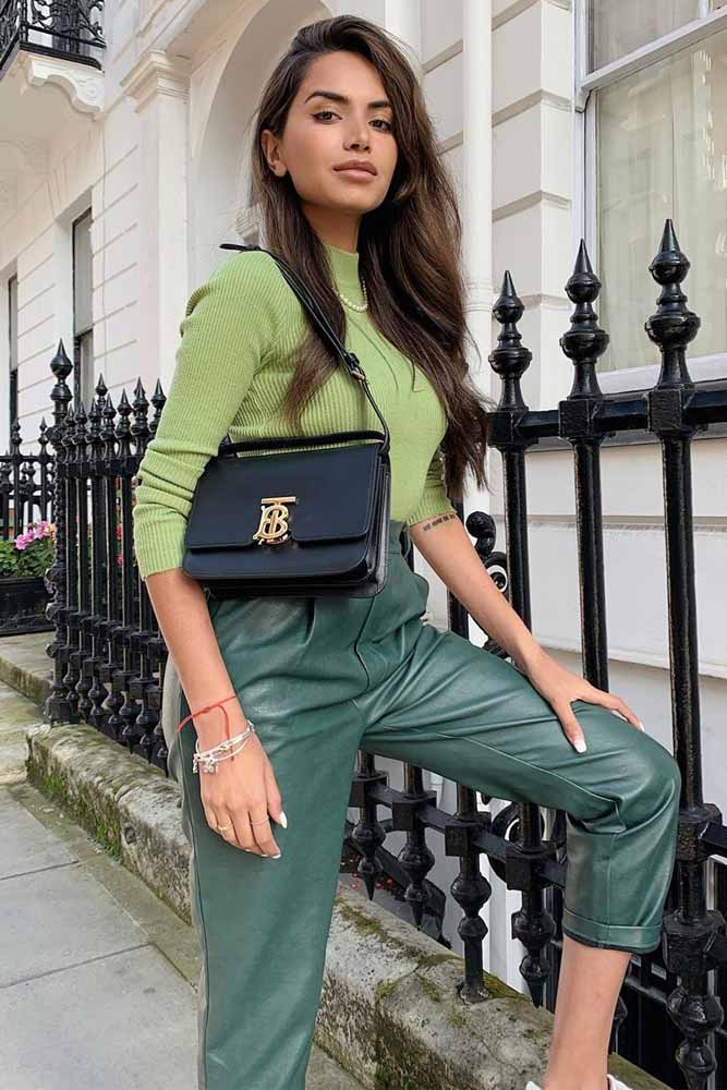 Green Leather Pants With Top Outfit #greenpants