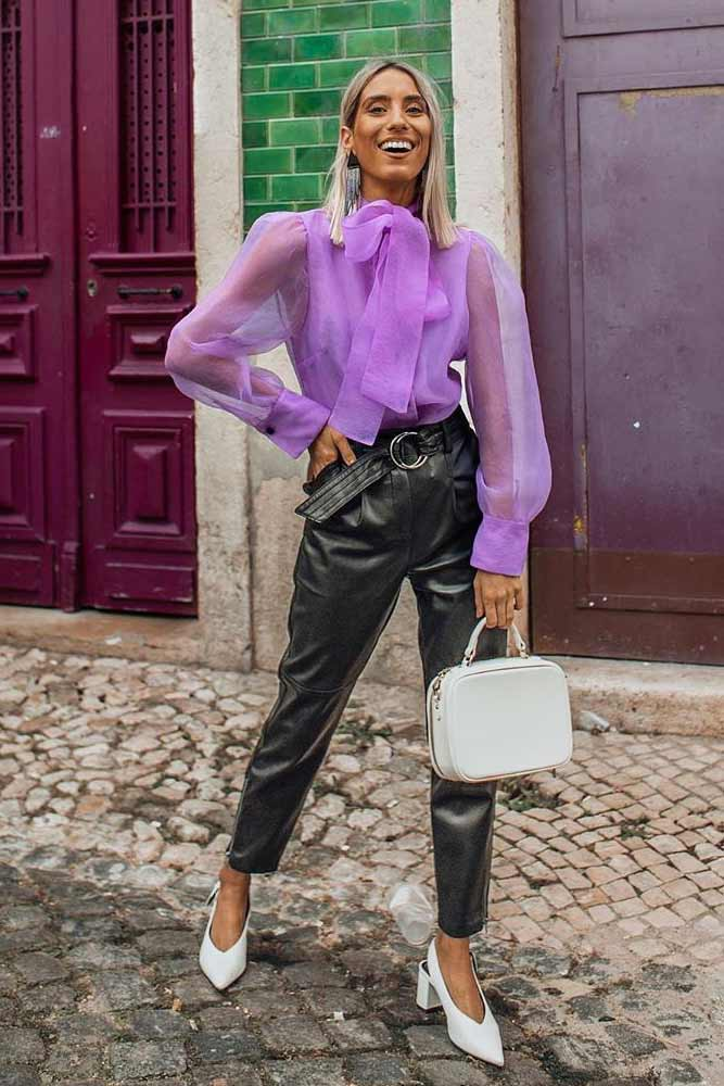 Lavender Blouse With High Waisted Pants #lavenderblouse