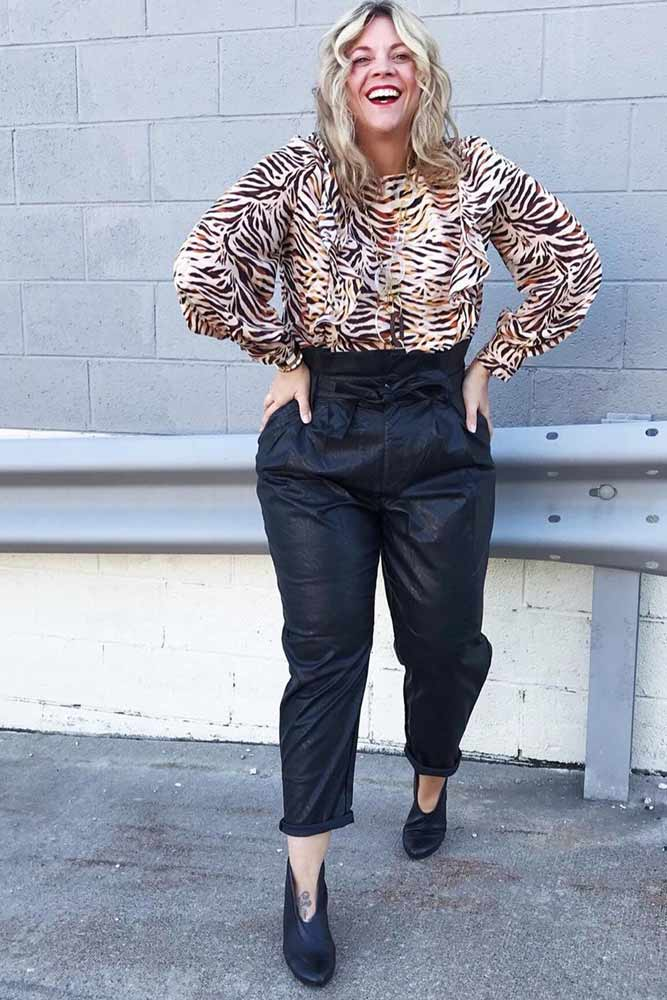 Wild Print Top With High Waisted Plus Size Pants #plussize #printtop