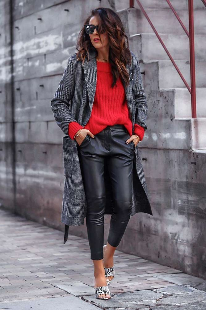 Sweater With Leather Pants Outfit #redsweater #plaidcoat