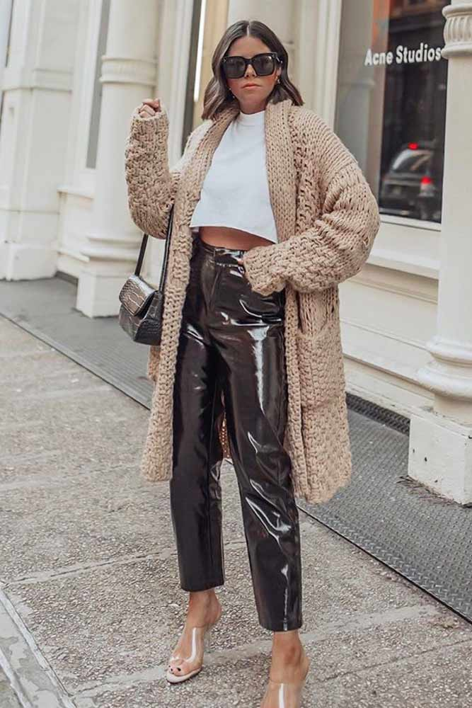 Vinyl Leather Pants With Cardigan Outfit #vinylpants #cardigan