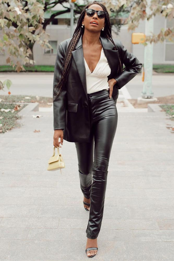 Leather Skinny With Jacket Outfit #leatherskinny #whiteshirt