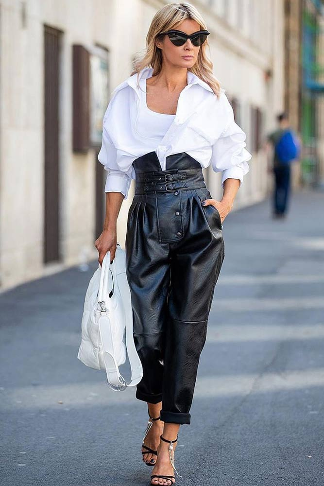 High Waisted Pants With White Shirt Outfit #whiteshirt
