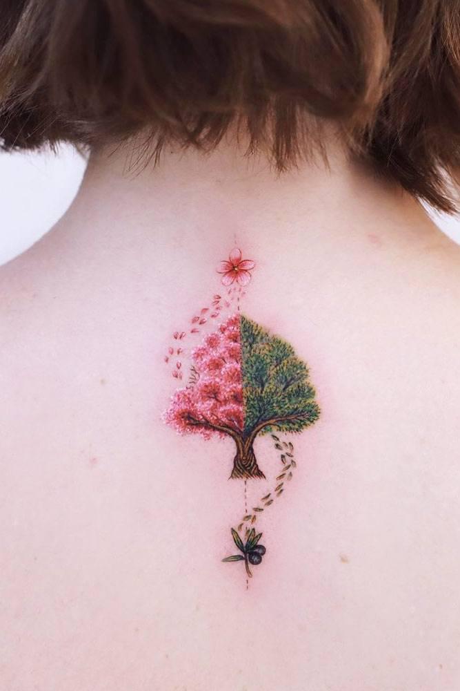 Half Floral Tree Design