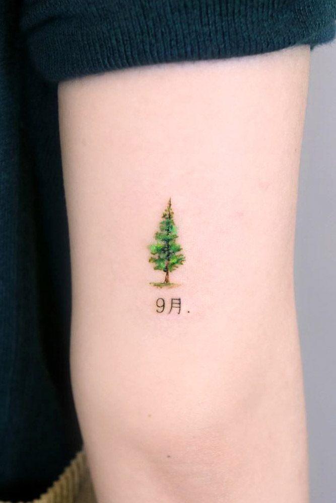 Minimalistic Pine Tree Tattoo