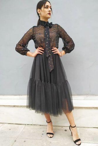 All Black Outfit With Tulle Skirt #polkadots