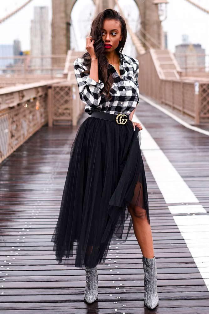 Midi Black Skirt With Flannel Shirt Outfit #plaidshirt #blackskirt