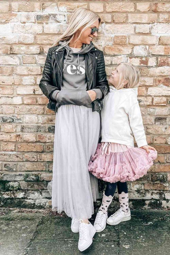 Tutu Skirt With Hoodie and Leather Jacket