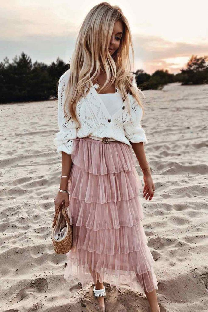 Knitted Cardigan With Ruffled Skirt